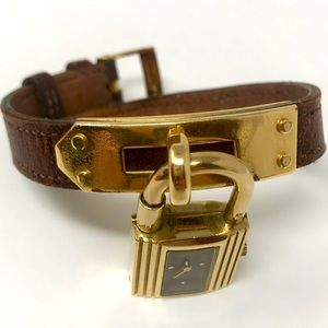 Hermes Accessories - Hermès Gold Kelly Watch W/ Burgundy Face & Band